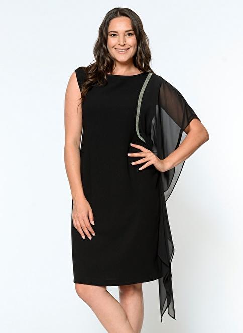 Selen Plus Elbise Siyah